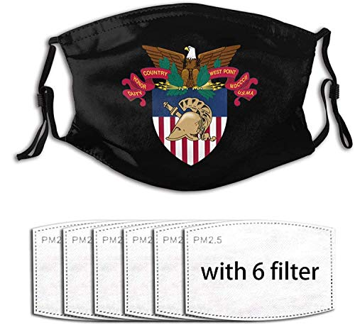 Army West Point Crest Unisex Reusable Face Mask with Filters,Adjustable Earloop Outdoor Dust Mask-With6Filter-OneSize