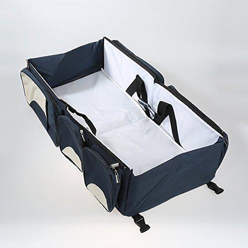 3 en 1 Sac à Langer bébé - lit pliant - lit portable - lit de voyagé berceuse - station de changement multi-fonctions (Bleu Foncé)