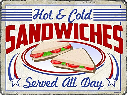 bar sandwiches Sandwiches Super Durable Tin Sign Retro Bar People Cave Cafe Garage Home Wall Decoration Sign 8x12 Inches
