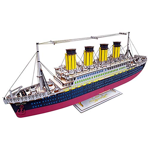 Xianxian88 Titanic el Barco de cruceros de Madera Rompecabezas 3D, Bricolaje Desafiando Craft Juegos de construcción de la Asamblea, 371Pcs escombros, para los Adolescentes Niños