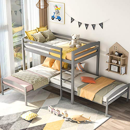 SOFTSEA L-Shpaed Triple Bunk Beds Twin Over Twin Over Twin, Wood Corner Bunk Beds 3 Beds in One, Pine Wood Bed Frame for Kids and Teens