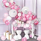 Decoración de Cumpleaños para Niña, 98 Piezas Guirnalda de Globos de Fiesta de Confeti Plateado Perfecto para Bodas Fiesta Nupcial Fiesta de Baby Shower, Artículos de Fiesta