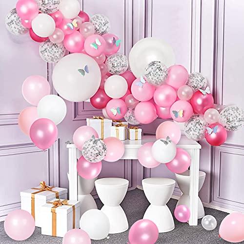Kit de Arco de Guirnalda Rosa Globos de Decoración de Fiesta Guirnalda de Globos Fiesta de Confeti Plateado con Mariposa de Papel Para Fiesta de Cumpleaños de Niñas y Baby Shower(98 Piezas)