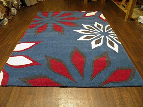 Discount Flooring Indien tufté à la Main texturé 100% Tapis en Laine 160cm x 230cm Environ 8x 5Bleu
