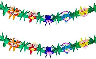 9 Foot Long Tropical Multicolored Paper Tissue Garland Flower Leaves Banner for Party Decorations, Birthdays, Event Supplies, Festivals, Children & Adults