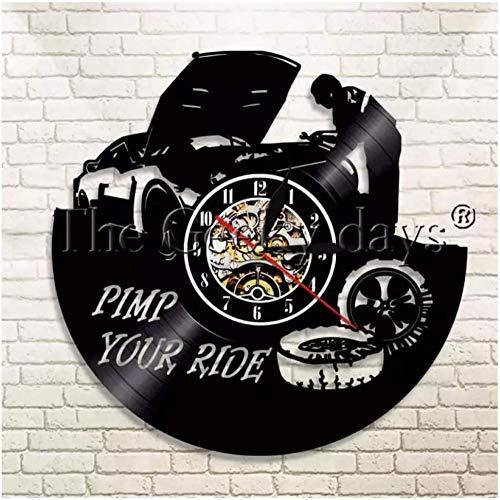 Reloj de pared de vinilo para reparación de neumáticos de coche, reloj de pared, regalo creativo para niños y niñas, adolescentes, amigos, diseño de arte único, reloj de pared de vinilo de 12 pulgadas