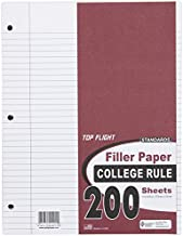Top Flight Filler Paper, 11 x 8.5 Inches, College Rule, 200 Sheets (12401)