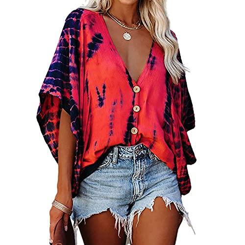 Elesoon Camisa de verano para mujer con rayas de tie-dye para trajes de baño de encubrimientos de talla grande, de chifón de murciélago, A-rojo, 44
