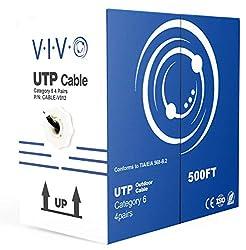 powerful VIVO Black 500ft Bulk Cat6, CCA-Ethernet-Kabel, 23 AWG, UTP-Pullbox, Cat-6-Kabel, Waterproof, …