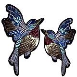 lumanuby 2x Pájaros Jeans Ropa bolsillos de lentejuelas multicolor Animales Bordado apliques parche para camiseta de/Sombreros/Sudadera 11* 10.0cm, parche Serie
