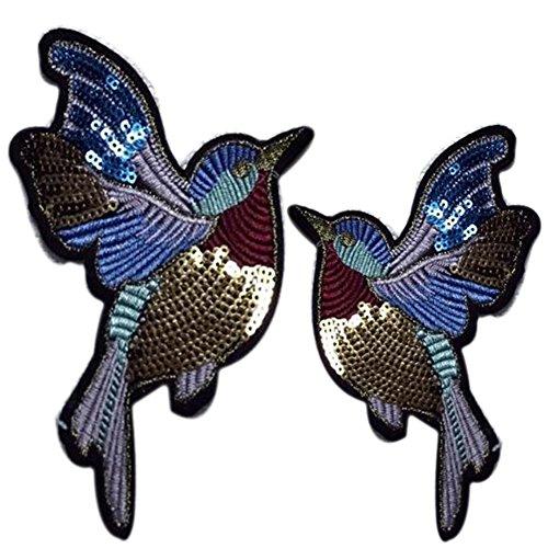 Lumanuby 2X Vögel Jeans Kleidung Taschen aus Pailletten Bunt Tier Stickerei Applikationen Aufnäher für T-Shirt/Hüte/Sweatshirt 11 * 10.0cm, Aufnäher Serie