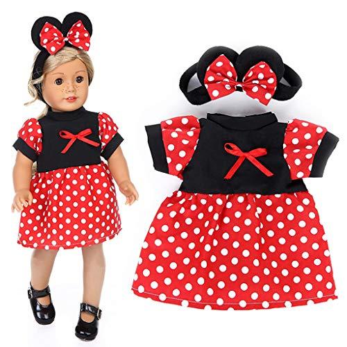 Vestidos Lindo de Mickey con Diadema, Ropa de Muñeca de Punto Rojo para 18 Pulgadas Muñecas American Girl Doll