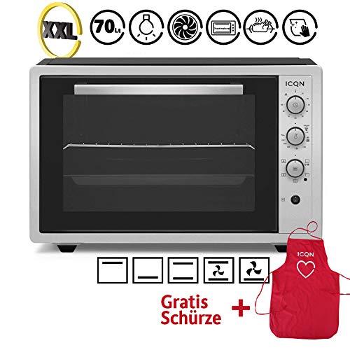 ICQN 70 Liter Inox Grau Mini-Öfen | 1800 W | Mini-Backofen mit Innenbeleuchtung und Umluft | Pizza-Ofen | Doppelverglasung | Drehspieß | Timer Funktion | Emailliert | Inkl. Schürze