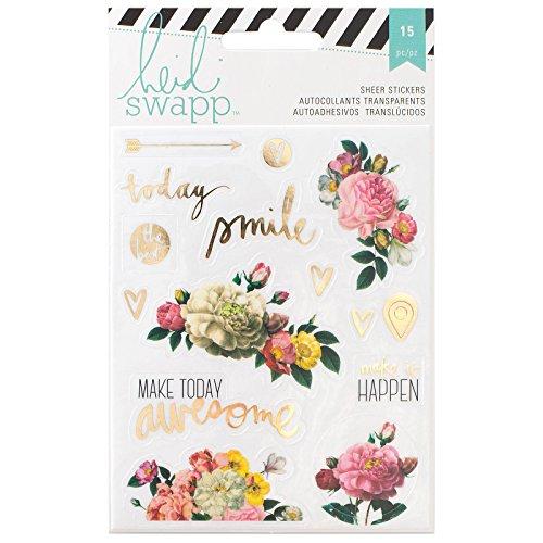 American Crafts, Adesivi Trasparenti a Tema Floreale per Il Memory Planner Heidi Swapp, acrilici, Multicolori