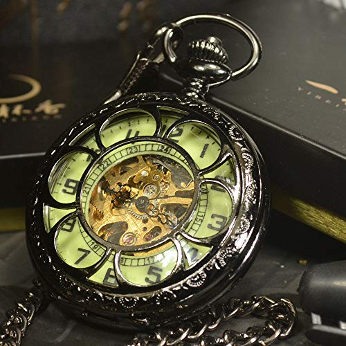 XVCHQIN Luminous Mechanical Pocket Watch Ste unk Vintage Hollow Cover Analog Skeleton Hand Winding Mechanical Pocket Watch for Men,Black