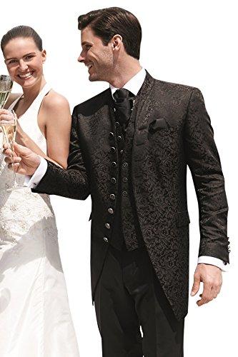 Wilvorst Hochzeitsanzug, ebenholzfarben in Bouquet Jacquard, Slimline, Longsakko Größe 50