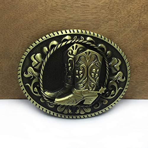 MAODA Botas Occidentales Hebilla de cinturón Vaquero Vaquero Hebilla de cinturón Acabado de latón Antiguo Bucle de 4 cm de Ancho