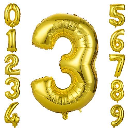 GWHOLE Globos Número 3, Globo Color Oro Globo Grande de Aluminio 1 2 3 4 5 6 7 8 9, Globos para Fiestas de Cumpleaños, Aniversario