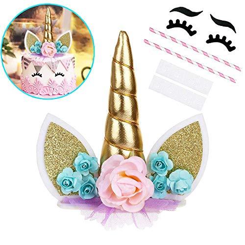 OWill - Decoración para tarta con diseño de unicornio con pestañas, para fiesta de cumpleaños, boda, baby shower, 5.8 pulgadas Green Flower Gold Horn