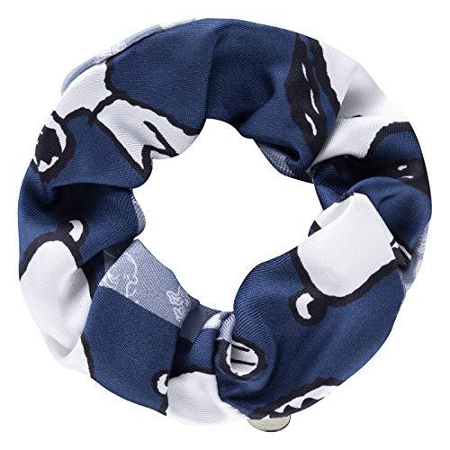 CODELLO Damen Scrunchie | XXL Haargummi | Seiden Scrunchie | Silk Scrunchie | aus reiner Seide | PEANUTS | SNOOPY | Blau