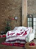 Manta de sé X-Mas | manta de Navidad | Manta suave - 150 x 200 cm (Rentier rojo)