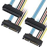 SATA3.0 22ピン (15+7) データと電源コンボ延長ケーブル 2本、シリアルATAオス-メス延長コネクター ワイヤーコード - 1.5フィート。