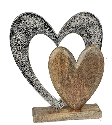 Formano Herz Dekofigur aus Mango-Holz und Aluminium massiv 24,5 x 16,5 cm