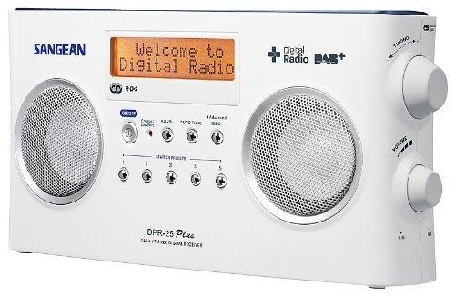 Sangean DPR-25+ Tragbares Radio (DAB+, UKW, LCD) mit Stereo-Lautsprecher weiß