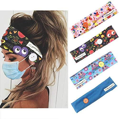 Handcess - Bandas elásticas para el pelo para correr, para hombres y mujeres, 4 unidades, color negro