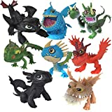 ltfei New 8 pcs /set full set Movie How to Train Your Dragon 2 PVC Action Figures, Night Fury toothless dragon toys for child gift (Color: Multicolor)