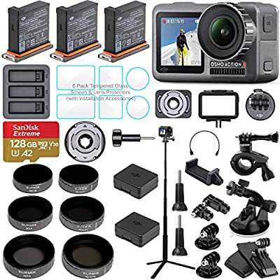 DJI OSMO Action Camera Bundle with 3 Batteries, Charging Hub, Adjustable Polarizer Filter Set, SD Card, Extension Rod/Selfie Stick, Tripod & Must Have Accessories (14 Items) from DJI