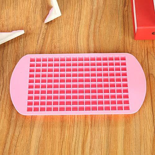 Mini molde de hielo cuadrado creativo 160 rejillas Bandeja de cubitos de hielo de silicona de grado alimenticio Molde de helado DIY para barra de hogar - Rosa