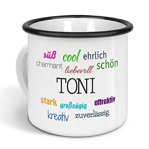 printplanet - Emaille-Tasse mit Namen Toni - Metallbecher mit Design Positive Eigenschaften - Nostalgie-Becher, Camping-Tasse, Blechtasse, Farbe Schwarz, 300ml