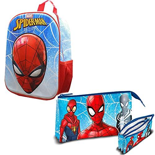 Skyline Set Sac à dos enfant 3D pour garçon et cartable, sac à dos scolaire, 30x30 CM, sac à dos polyester + EVA, fournitures scolaires pour la rentrée, idéal pour les enfants, Spiderman
