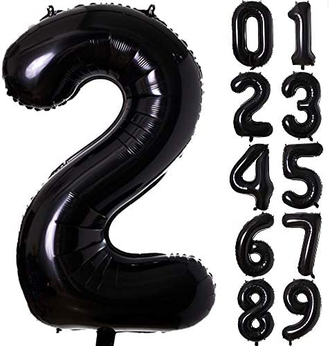 40 Inch Black Number Foil Balloons 0 9 Balloons Foil Mylar Digital Number 2 Balloons for Birthday product image