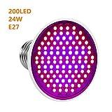LED Grow Light Bulb, 24W E27 High Power Panel Full Spectrum 200 LED Greenhouse Hydroponic Vegs Potted Flower...