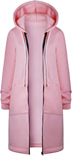 Pervobs Women Loose Warm Zipper Open Hoodies Sweatshirt Long Coat Jacket Outwear
