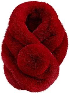 Amiley Women's Faux Fur Collar Scarf Soft Fashion Winter Warm Ladies Long Shawl Wraps for Bridal Wedding