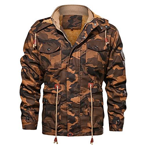 Aiserkly Camouflage Kapuzejacke Winterjacke Herren Vintage Hoodie Kapuzepullover Strickjacke Kapuzejacke Herbst Winter Übergangsjacke Outwear Braun M