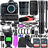 Canon EOS 5D Mark IV DSLR Camera Kit with Canon 24-105mm STM & 75-300mm Lenses + 420-800mm Telephoto Zoom Lens + Battery Grip + TTL Auto Flash + Comica Microphone + 128GB Memory + Accessory Bundle