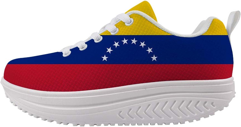 Owaheson Swing Platform Toning Fitness Casual Walking shoes Wedge Sneaker Women Venezuela Flag