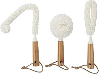 Lily's Home Decanter Cleaning Brush Set with Bamboo Handles, Glassware Cleaning Brushes For Hard To Reach Areas, Ideal For Champagne Flutes, Beer Mugs, Baby Bottles and Narrow Neck Goblets (Set of 3)