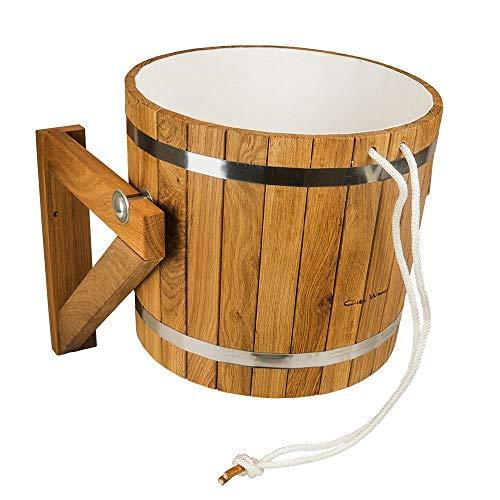 Doccia sauna secchio/secchio 20l in legno di quercia con inserto in plastica e valvola di riempimento acqua automatico