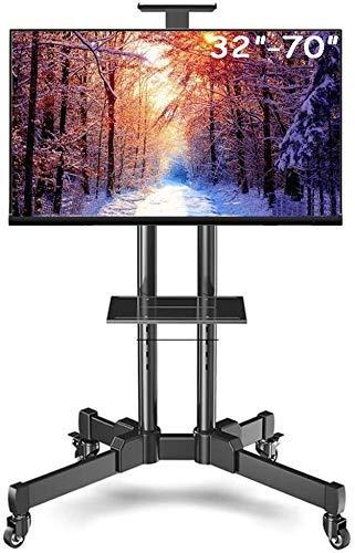 Equipo para el hogar Soporte para TV Soporte Mesa para soporte de TV Carrito de TV extra alto con manejo de cables Soporte para TV de rodillo de acero negro con ruedas Televisores OLED de 32 '70' P