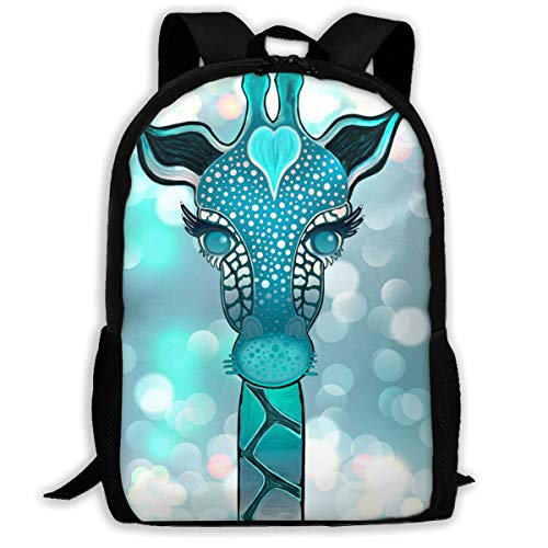 Blue Giraffe Head Backpack School Bag, 3d Print Lightweight Bookbag Travel Daypack For Boys & Girls