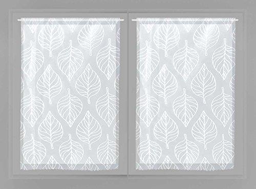 Par de mini visillos 2 x 60 x 120 cm MAUD blanco