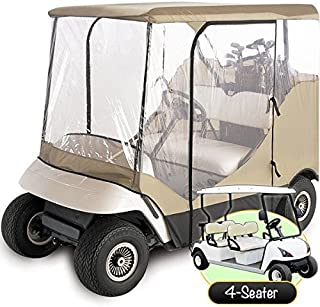 North East Harbor Waterproof Superior Beige and Transparent Golf CART Cover Covers Enclosure Club CAR, EZGO, Yamaha, FITS Most Four-Person Golf CARTS