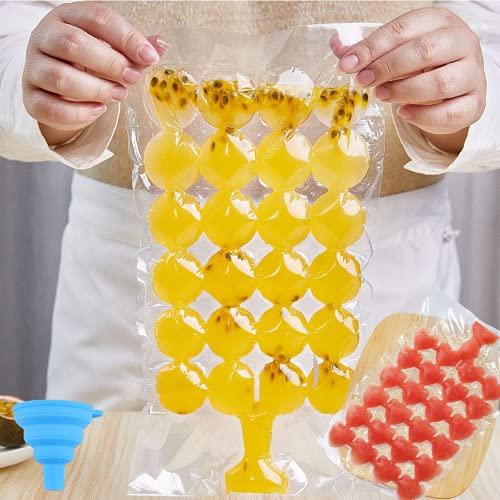 Orapink Moldes para cubitos de hielo, paquete de 40 bolsas de hielo desechables para cubitos de hielo con embudo de clip de hielo, sellado automático, congelador rápido