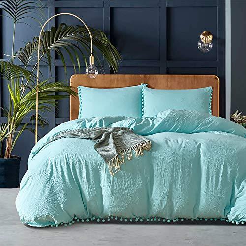 ZZFF Pom Pom Fringe Duvet Cover Set,Vintage Solid Color Duvet Cover With Tassels,Soft Breathable Microfiber Comforter Cover 2 Pillow Sham Bedding Set264x229cm