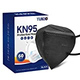 KN95 Face Mask 60 Pack, YUIKIO Individually Wrapped Cup Dust Protective Mask Included on FDA EUA List, Filter Efficiency≥95%, 5 Layers Breathable & Comfortable Filter Safety Mask Against PM2.5 (Black)